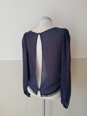 letzter Preis! Chiffonbluse Spitze Bluse langarm dunkelblau schwarz River Island Gr. UK 8 XS EUR 34 neu rückenfrei