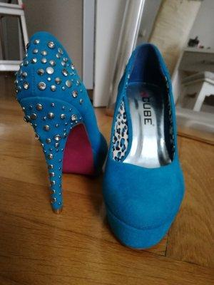 LETZTER PREIS! Color Blocking High Heels in türkis mit Strass