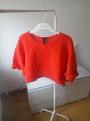 Letzter Preis!!! Cropped Shirt Frottee 3/4 Arm Festival Summer Blumen rot orange Gr. S