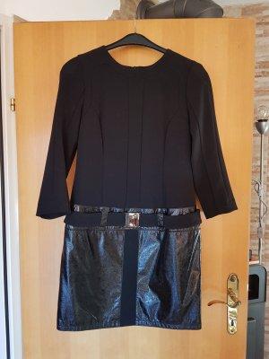 letzter Preis # Dolce & Gabbana Kleid mit Gürtel u Lackelement Rockteil