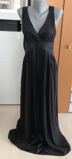 Letzter Preis! Einmalig! René Lezard Empire Seidenkleid Plissee schwarz/blau