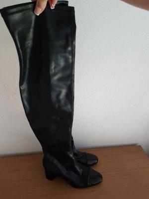 letzter Preis # extrem schöne (elastische) ausgefallene OVERKNEES (GUCCI STIL) # D 41 schwarz