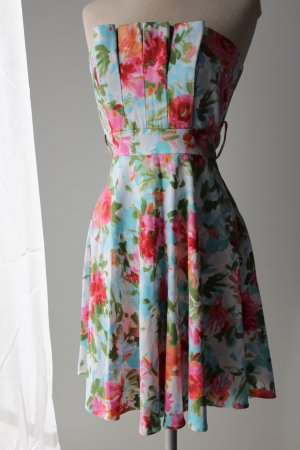 Letzter Preis! figurbetont schulterfrei Kleid Gr. 36 S Bandeaukleid Minikleid kurz mini Sommerfarben l