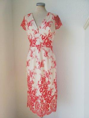 Letzter Preis! French Connection Kleid weiß rot Spitze Gr. EUR S UK 10 neu Etuikleid elegant