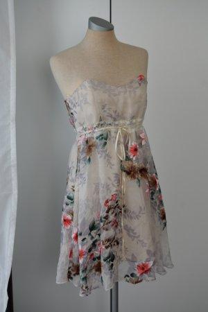 letzter Preis! Hunters and Gatterers Minikleid weiß Blumen Spitze Gr S 35%Seide neu Sommerkleid