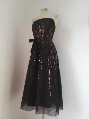 Letzter Preis! Jake`s Kleid trägerlos Bandeaukleid braun Tüll Pailletten Gr. 34 XS Midikleid