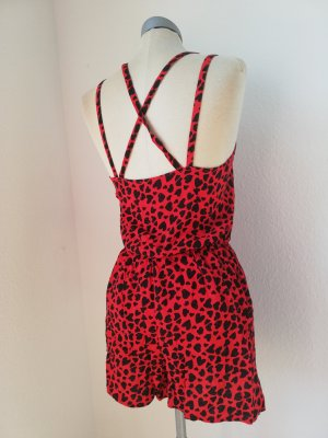 Letzter Preis! Jumpsuit Playsuit rot schwarz Herzen Träger neu Lolita George Viscose Gr. UK 10 EUR 38 S M