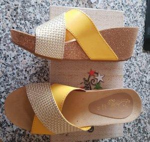 Letzter Preis Lederpantolette Made in Italy Gelb Gr. 39 Neu