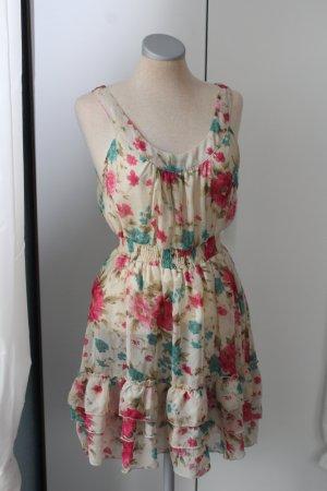 Letzter Preis!!! Miso Gr. UK 12 EUR 40 Minikleid Sommerkleid Blumen weiß bunt Kleid kurz mini
