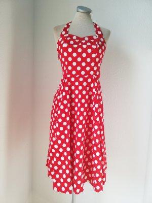 Halter Dress white-red cotton
