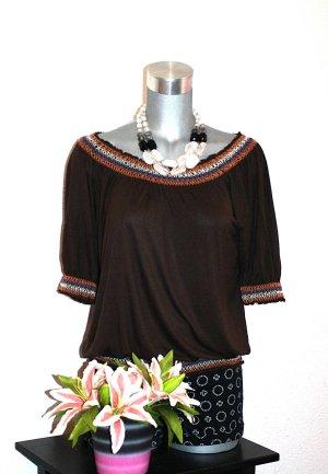 LETZTER PREIS; NUR FÜR KURZE ZEIT !!!! Blusen Shirt gr. 38/40 Braun Borte Top