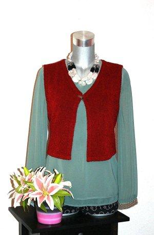 Gilet tricoté rouge carmin-bordeau