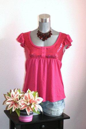 LETZTER PREIS !!!! NUR FÜR KURZE ZEIT !!!!!! Pailetten Shirt Gr. 36/38 Pink Babydoll Blogger