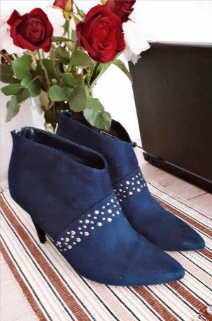 LETZTER PREIS NUR FÜR KURZE ZEIT !!!! Velour Stiefelette Gr. 40 Blau Nieten Sexy Style