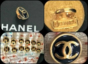 Chanel Bottone nero-oro Metallo