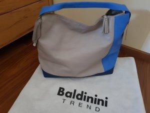 Letzter Preis Original Baldinini Beuteltasch blau grau feines Leder neu mit Etikett