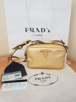 Letzter Preis Prada Bandoliera Leder Gold Neu aktuelle Kollektion