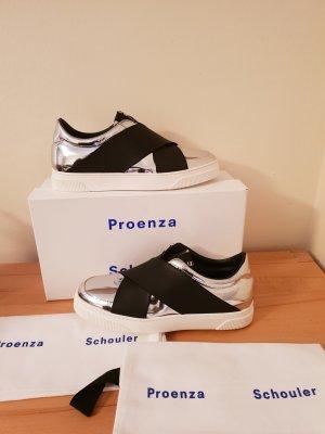 Letzter Preis Proenza Schouler Sneaker Leder silber Gr. 38 Neu