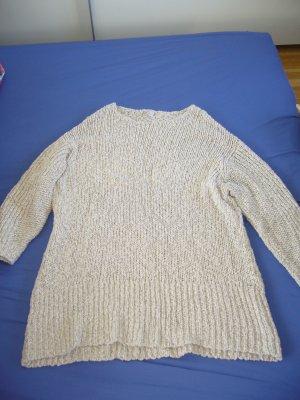 Letzter Preis!!! Pullover Longform Grobstrick Hippie Landhausstil Natur Creme Wollweiss Baumwolle Gr. S