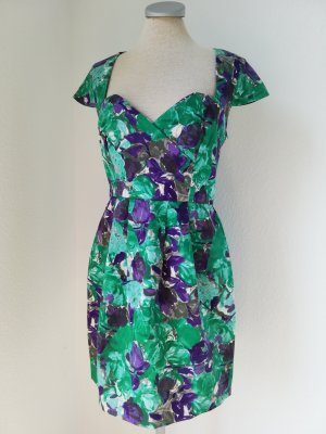 Letzter Preis! River Island Etuikleid Kleid Baumwolle grün lila Retro Gr. UK 10 EUR 36 S Rockabilly Kurzarm kurz
