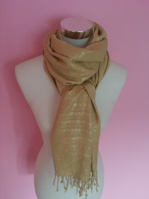 H&M Scarf sand brown-silver-colored