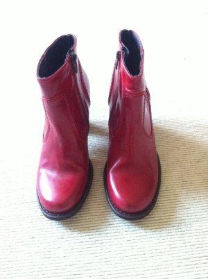 Letzter Preis!!! Stiefelette  Boho Hippie Leder Absatz runde Form rot