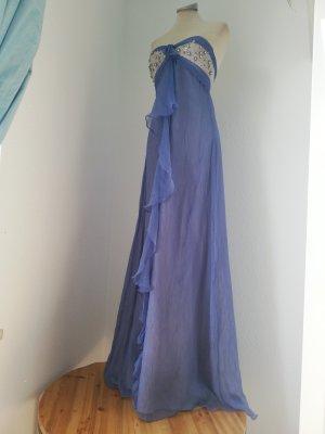 Letzter Preis! Unikat handmade Seidenkleid Kleid lang Seide flieder Silber Gr. 34 36 XS S Abendkleid