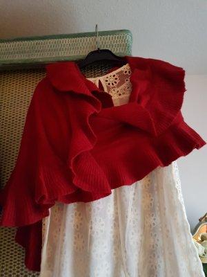 letzter Preis # XXL Volant Schal in rot aus Wolle