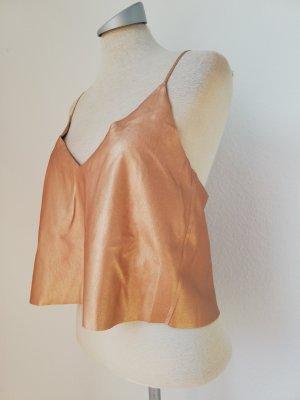 Letzter Preis! Zara Trägertop Top Oberteil Gr. L 40 neu rosegold metallic
