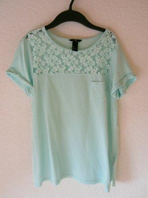 Leuchtend türkisfarbenes Shirt mit Spitzen-Einsatz  - Größe S/M