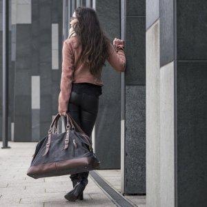 Gekruiste tas zwart-bruin Linnen