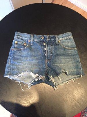 Levi's Short en jean bleu acier-bleu coton