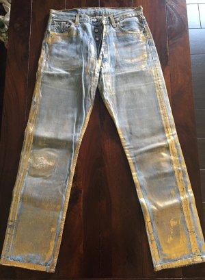 Levi's 501 Designer Jeans Gold Einzelstück Unikat