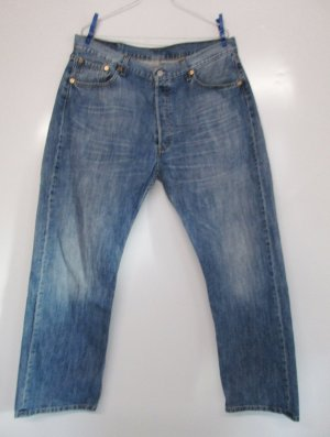 Levi`s 501 Jeans Hose W36 L30 Größe XL 44 46 Blau Knopfleiste Strauss Levis Straight Used Hell Washed
