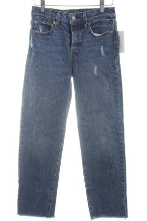 Levi's 7/8 Jeans stahlblau Used-Optik