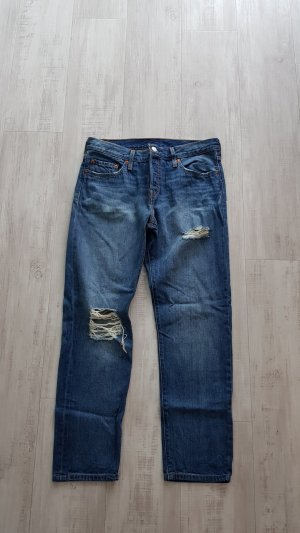 Levi's Boyfriend Trousers steel blue cotton