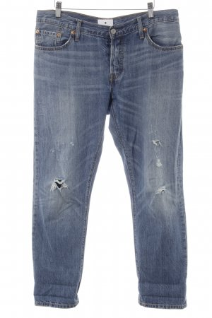 Levi's Boyfriend Jeans steel blue distressed style