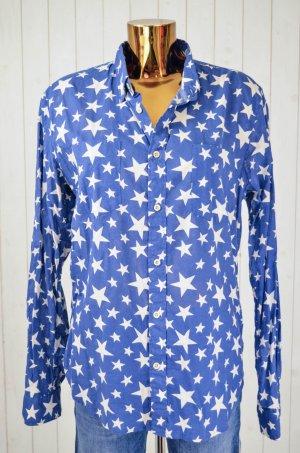 LEVI'S Damen Bluse Hemd Baumwolle Blau Weiß Sterne Kragen Langarm Gr.M