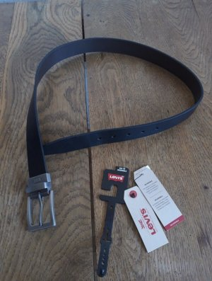 Levi's Cinturón de cuero negro-color plata