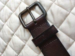 Levi's Cinturón de cuero marrón oscuro-color plata Cuero