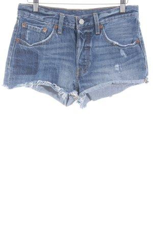 Levi's Hot Pants kornblumenblau Used-Optik