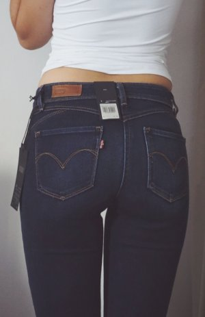 LEVI'S Jeans Demi Curve Mid Rise Blau sexy Skinny lang Hose Levis W25 L34 NEU