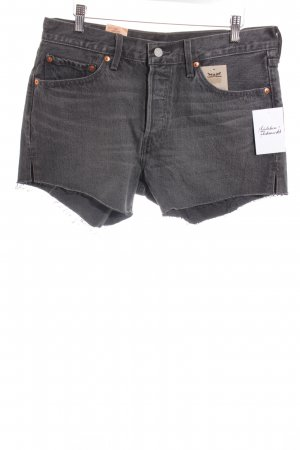 Levi's Jeansshorts dunkelgrau-grau Logo-Applikation aus Leder
