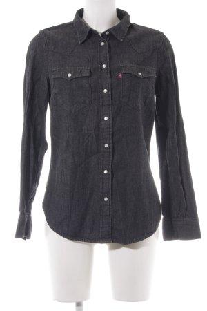 Levi's Langarmhemd dunkelgrau Jeans-Optik