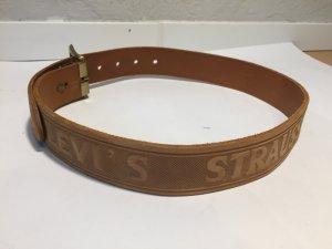 Levi's Cintura di pelle marrone chiaro-oro Pelle