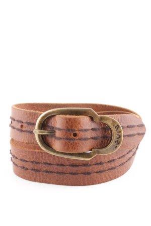 Levi's Cinturón de cuero marrón look casual