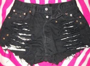 LEVI`S LEVI Jeans Shorts Hot Pants Hotpants SCHWARZ Niete DENIM W32 38 40 42 M L