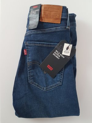 Levi's Hoge taille jeans donkerblauw Katoen