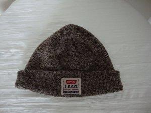 Levi's Chapeau en tricot brun noir-blanc cassé acrylique