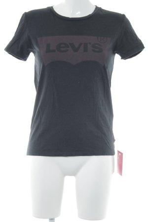 Levi's Print-Shirt schwarz-bordeauxrot Schriftzug gedruckt Casual-Look
